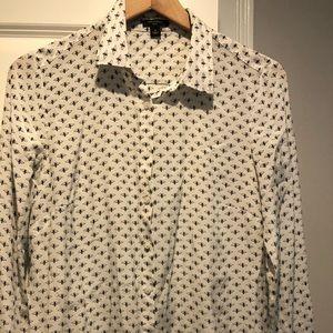 Ann Taylor silk bee print button shirt